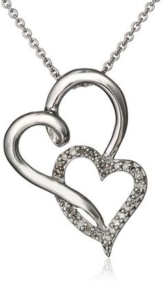 Sterling Silver Diamond Double Open Heart Pendant Necklace (1/10 cttw), 18""