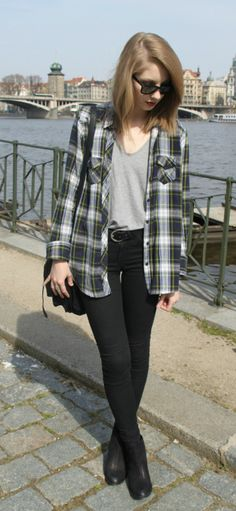 plaid with tucked in shirt.