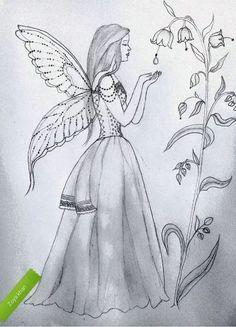 A beautiful angel is standing in garden. Girl Drawing Sketches, Girly Drawings, Sketchbook Drawings, Princess Drawings, Art Drawings Sketches Simple, Art Drawings Beautiful, Pencil Art Drawings, Sketching, Drawings Of Friends