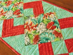 Quilted Hawaiian Table Runner, Tropical Flowers, Spring Floral Decor, Red and Aqua, All Occasion Gift, OOAK Unique Hawaii Handmade Everyday Table Decor, Tropical Table Runners, Hawaiian Designs, Straight Line Quilting, Beach Cottage Decor, Tablerunners, Quilted Table Runners, Cotton Quilting Fabric, Quilted Pillow