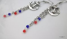 Anchor charmed Long Chain Earrings / Forth of July by Obsidianrain