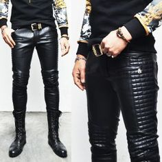 Bottoms :: F/W Homme Full Leather Quilt Biker Skinny-Pants 103 - Mens Fashion Clothing For An Attractive Guy Look