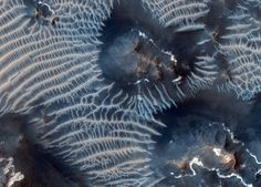 This colorful scene is situated in the Noctis Labyrinthus region of Mars, perched high on the Tharsis rise in the upper reaches of the Valles Marineris canyon system.  Targeting the bright rimmed bedrock knobs, the image also captures the interaction of two distinct types of windblown sediments. Surrounding the bedrock knobs is a network of pale reddish ridges with a complex interlinked morphology.
