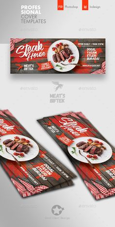 Buy Steak House Cover Templates by grafilker on GraphicRiver. Steak House Cover Templates Fully layered INDD Fully layered PSD 300 Dpi, CMYK IDML format open Indesign or later. Food Graphic Design, Food Menu Design, Food Poster Design, Facebook Cover Design, Facebook Cover Template, Facebook Timeline Covers, Shawarma, Carta Restaurant, Thumbnail Design