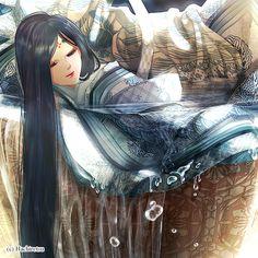 Sweet Rice Wine by Hachiretsu on DeviantArt.  She is dressed in junihitoe