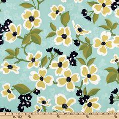 Modern Meadow Dogwood Bloom Pond Fabric by Joel Dewberry