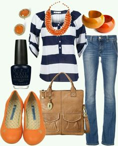 Blue stripes with touches of orange