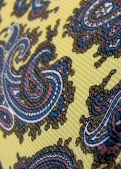Vintage JORDACHE Primrose Flowerbud Yellow/Mauve/Moss/Rice Paisley Silk Neck Tie #Jordache #Tie