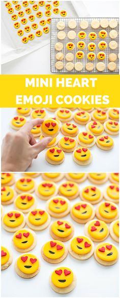 Easy Mini Heart Emoji Sugar Cookies. These cute emoji cookies are sure to win over hearts for kids and adults! Super easy 3 ingredient cookie recipe and step by step tutorial.