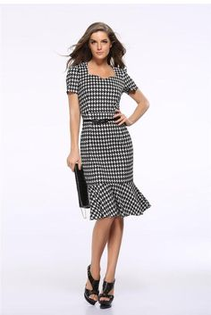 Women Elegant Slimming Dress Summer Houndstooth Work Office Dress Ladies Sexy Evening Party Mermaid Tunic Bodycon Dress Vestidos Size S Color Houndstooth Elegant Dresses, Vintage Dresses, Casual Dresses, Women's Dresses, Casual Wear, Bodycon Dress With Sleeves, Short Sleeve Dresses, Short Sleeves, Fishtail Dress