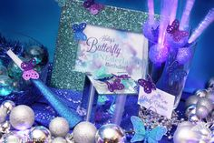 glitter frame welcome sign for Winter Butterfly Birthday - via the Creative Orchard