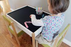 Ikea latt hack. Love the chalkboard paint top.