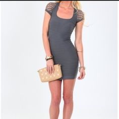 """Sexy BodyCon Gray!!! Brand New!!! Amazing body con features net sleeve detail. Stretch fabric. This body con is the perfect fit and can be dressed up easily with flats or wedges!  Fits a size 0-6 Nylon spandex blend 31"""" Length Dresses"""