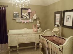 Country Couture, Shabby Chic Girls Nursery, Shabby chic nursery for a baby girl.  Vintage chic with glitter and glamour!  , Nurseries Design...