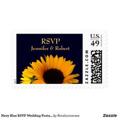 """Navy Blue RSVP Wedding Postage Bride and Groom wedding RSVP postage stamp with a Sunflower photo . Text color can be easily changed by you by clicking the orange """"Customize it"""" button."""