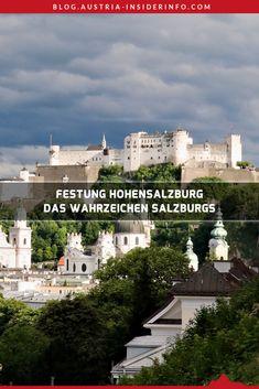 Die Festung Hohensalzburg ist das Wahrzeichen Salzburgs und zählt demnach auch zu den Top Sehenswürdigkeiten der Salzburger Altstadt. Die Festung zählt neben der Burg Mauterndorf und der Burg Hohenwerfen zu den beeindruckendsten Burgen des Bundeslandes Salzburg. Schon von Weitem gut sichtbar thront sie über der Stadt Salzburg und bietet auch einen hervorragenden Blick über die zahlreichen Kuppeln der Mozartstadt. Salzburg, Parks, Austria, Mansions, House Styles, Movie Posters, Travel, Outdoor, Travel Alone