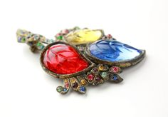 Antique Glass Leaf and Rhinestone Brooch  Fruit by ClassiqueStyle, $44.00