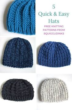 5 Quick & Easy Hats--FREE Knitting Patterns from Squigglidinks hat pattern free easy 5 Quick & Easy Hats Beanie Knitting Patterns Free, Beginner Knitting Patterns, Easy Knitting Projects, Baby Hats Knitting, Beanie Pattern, Free Knitting, Start Knitting, Loom Knitting For Beginners, Knitted Baby Beanies