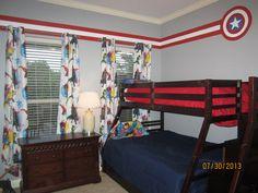 Super hero room Target bed sheet curtains