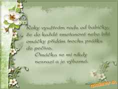 Rady od babičky..... Place Card Holders, Cooking, Frame, Inspiration, Anna, Cleaning, Food, Fitness, Juice