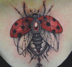 18 cute ladybug tattoo ideas - pictures and meaning - 18 cute ladybug tattoo ideas – pictures and meaning, ladybug with jewelry tattoo on front décoll - Tatoo Art, Get A Tattoo, Arm Tattoo, Sleeve Tattoos, Tattoo Ink, Full Body Tattoo, Body Art Tattoos, Print Tattoos, Cool Tattoos