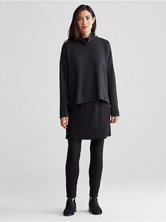 CHARCOAL outfit. Loose dark grey jumper | Black flowing skirt | Black leggings  | Minimalist woman | Minimalist style | Capsule wardrobe | Intentional living | Slow fashion |  Simplicity | Less is more