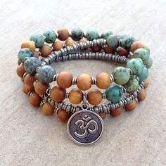 Healing and Change, Sandalwood and African turquoise 54 beads mala bra – Lovepray jewelry