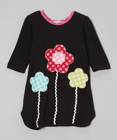 Take a look at this Black & Pink Flowers Dress - Toddler & Girls on zulily today!