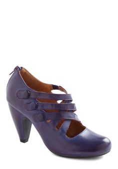 Closed Carriage Chic Heel by Miz Mooz - Purple, Solid, Buttons, Mid, Party… Sock Shoes, Cute Shoes, Me Too Shoes, Shoe Boots, Shoes Heels, Strappy Heels, Estilo Pin Up, Vintage Heels, Miz Mooz