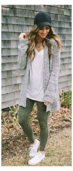Outfits With Grey Cardigan, Casual Outfits, Cute Outfits, Cardigan Fashion, Dress Outfits, Prom Dresses, Look Fashion, Fashion Outfits, Womens Fashion