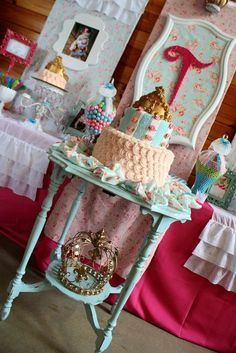 Shabby Chic Baby princess 1st birthday party - cake - sweets table - candy buffet ideas