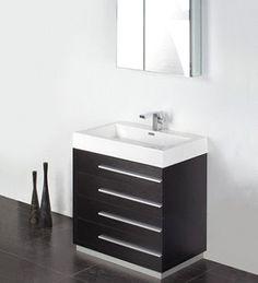 Fresca Livello 30 Teak Modern Bathroom Vanity w/ Medicine Cabinet Teak Bathroom, 30 Vanity, Single Sink Bathroom Vanity, Modern Vanity, Vanity Cabinet, Modern Bathroom, Bathroom Vanities, Bathroom Ideas, Wood Vanity