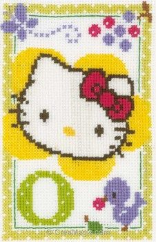 Point de croix hello kitty lettre o de Vervaco