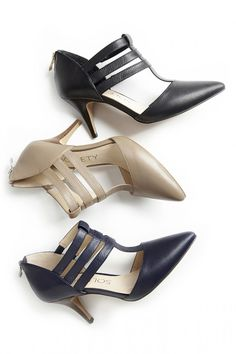 Leather pointed toe heels with flattering triple straps