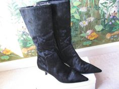 M.O.D  Pointy Toe Leather Fur Black Mid-Calf Boots Shoes 8 NEW #MOD #FashionMidCalf