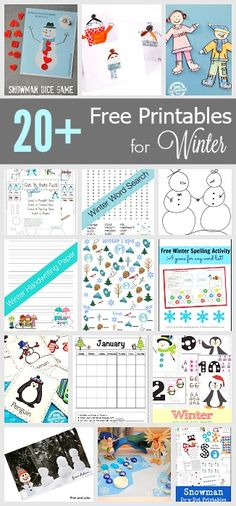 Free Winter Printables for Kids - Over 20 Free Printables for Winter: Winter themed crossword, I Spy, calendar, games and more! Winter Activities For Kids, Winter Games, Winter Fun, Winter Theme, Learning Activities, Preschool Winter, English Activities, Preschool Learning, Printable Calendar Template