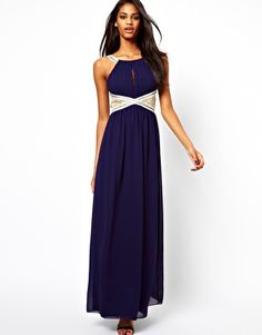 Image 1 of Little Mistress Embellished Maxi Dress with Lace Insert