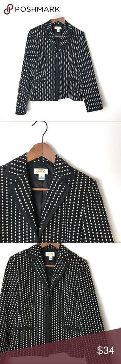"Talbots Black Polka Dot Blazer Talbots Black Polka Dot Blazer. 22.5"" 17.5"" across the bust. 73% Polyester 27% Cotton. Fully lined. Satin trimmed with hook and eye closures. Front pockets. Beautifully detailed jacket in excellent condition. Size 4. Talbots Jackets & Coats Blazers"
