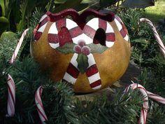 Painted Gourd Art  Candy Cane Christmas Winter  von NatsKreations, $34.95