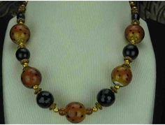 1/KIND: Ravishing Necklace Features Pearls, Black Onyx and rocking Jungle Art Glass focals