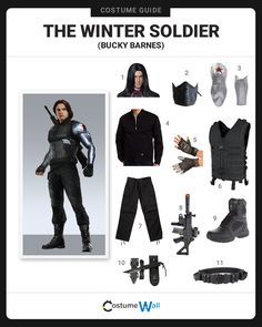"Suit up like James ""Bucky"" Barnes, The Winter Soldier and HYDRA assassin who is set to defeat Captain America. Marvel Halloween Costumes, Dc Costumes, Avengers Costumes, Avengers Outfits, Halloween Cosplay, Halloween Outfits, Cool Costumes, Halloween 2020, Costume Ideas"