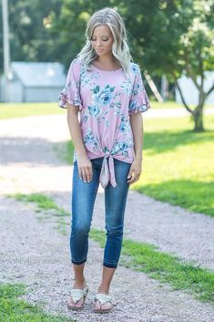 From Here On Out Ruffle Sleeve Floral Knotted Top in Mauve Filly Flair 594b192d6