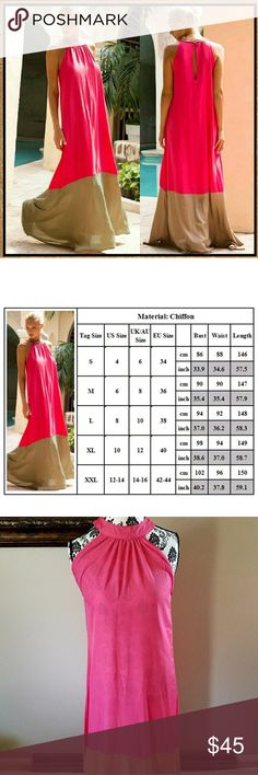 🆕CLASSY LONG DRAPE DRESS A glass of champagne and this dress! Beautiful high neckline and trailing dramatic hem in colors that pop give you a reason to celebrate. Halter button back closure with keyhole opening. See size chart in pic for measurements. Dresses Maxi