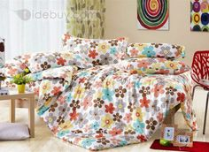 安価カラフル花柄コットン4点寝具セット