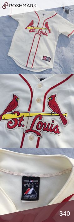 St. Louis Cardinals vintage look baseball jersey S St. Louis Cardinals vintage look baseball jersey. Labeled M but fits like a small. Color is a super light cream, almost white. Great condition! Can't model but happy to provide measurements. Open to offers! Major League Baseball Tops