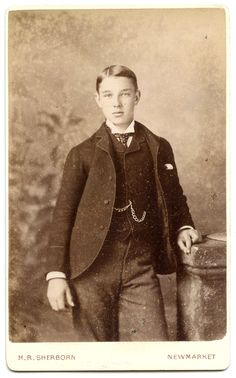 Carte de visite of a smartly dressed young man with watch chain. By H R Sherborn, Newmarket.