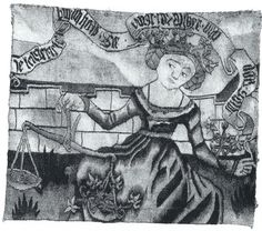 """die Treuewaegerin, young woman weighing fidelity. fragment of a wall-hanging woven in Strasbourg c.1500. The flowers of the Bittersuess [bittersweet, i.e. woody nightshade] outweigh the gold coins in the lighter pan - which must be a good omen She also wears a garland of bittersweet in her hair - the plant is also known in German as """"je langer je lieber"""" [the longer the better, the longer the more I like it]. Her banderole reads: Je lenger ie lieb[] bin ich hold/Sie wigt das Silber und das…"""