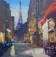 Colin CARRUTHERS - Dusk, Rue Dominique. Oil