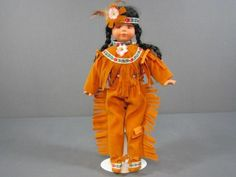 """Paradise Galleries Native American Porcelain Doll 14"""" Indian Doll With Stand NIB"""