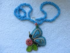 Bead embroidery necklace, sea sediment jasper. SOLD!